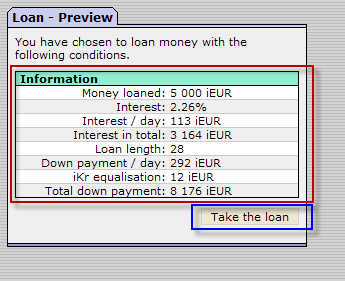 Loan preview screen